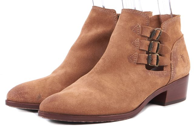 FRYE Sand Brown Distressed Suede Ray Belted Ankle Boots