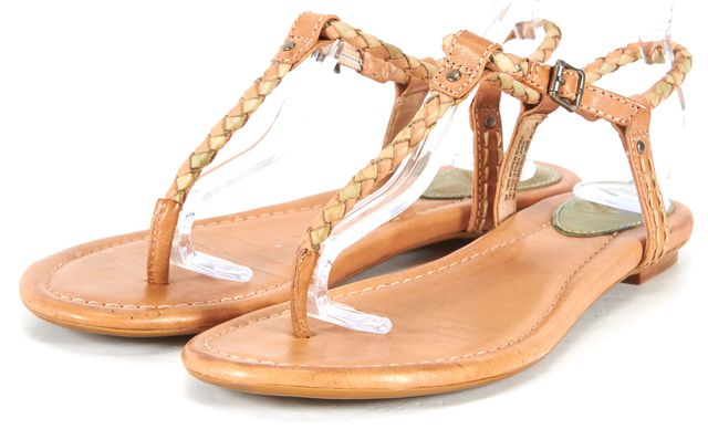 FRYE Brown Green Leather Madison Braided T-Strap Sandals