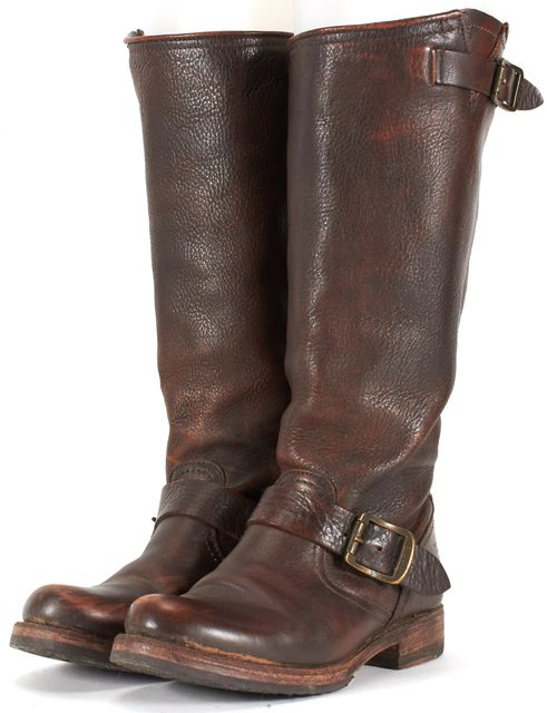 FRYE Brown Leather Buckle Detail Mid-Calf Boots