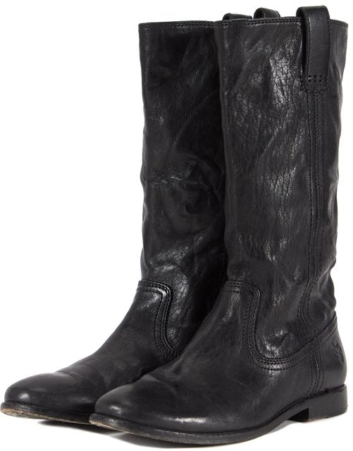 FRYE Solid Black Leather Mid-Calf Boots