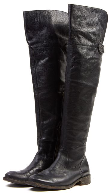 FRYE Black Leather Open Shaft Knee-High Tall Boots