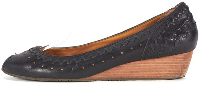 FRYE Black Embellished Leather Peep-Toe Wedges