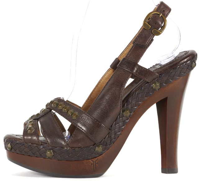 FRYE Brown Studded Braided Leather Platform Sandals