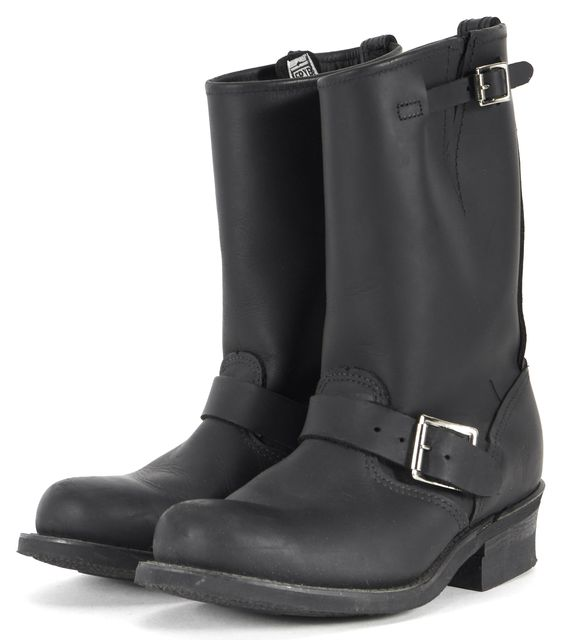 FRYE Black Leather Silver Buckle Mid-Calf Boots