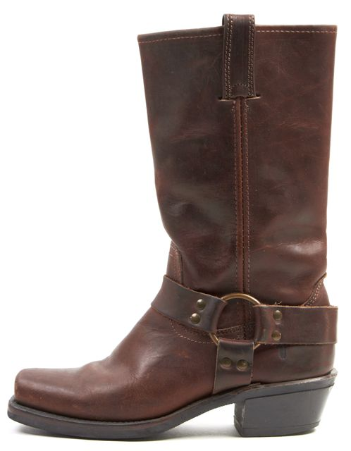 FRYE Brown Distressed Leather Mid-Calf Western Boots