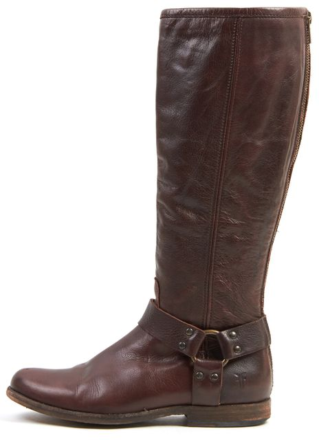 FRYE Espresso Brown Leather Heath Harness Knee-High Boots