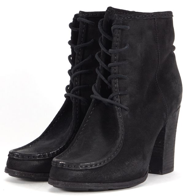 FRYE Black Leather Lace Up Heeled Loafer Ankle Boots