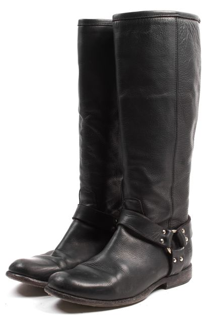 FRYE Black Leather Flat Motorcycle Knee-High Boots
