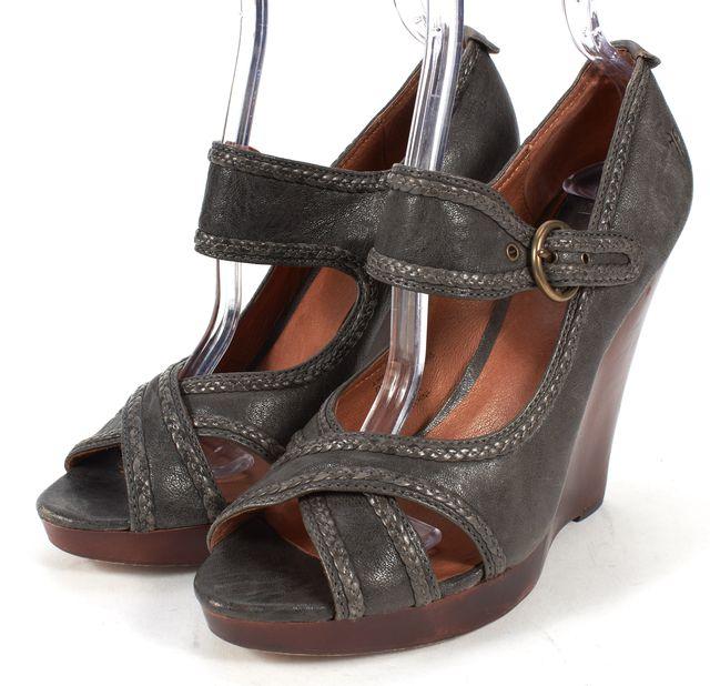 FRYE Dark Gray Leather Gretta Criss Cross Sandal Wedges