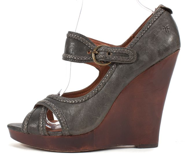 FRYE Dark Gray Leather Gretta Criss Cross Sandal Wedges