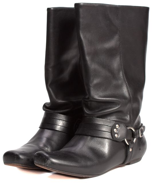 FRYE Black Leather O-Ring Flat Motorcycle Mid-Calf Boots