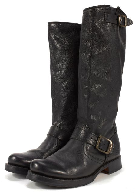 FRYE Black Leather Buckled Flat Knee-High Boots