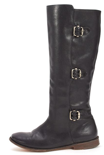 FRYE Black Leather Flat Buckled Knee-High Boots