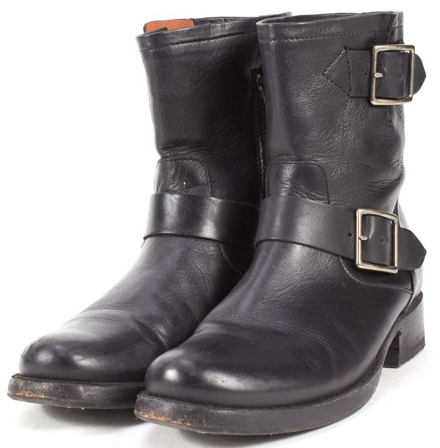 FRYE Black Leather Flat Motorcycle Ankle Boots