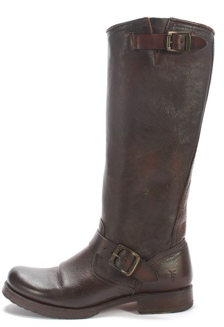 FRYE Brown Distressed Leather Knee-high Tall Boots