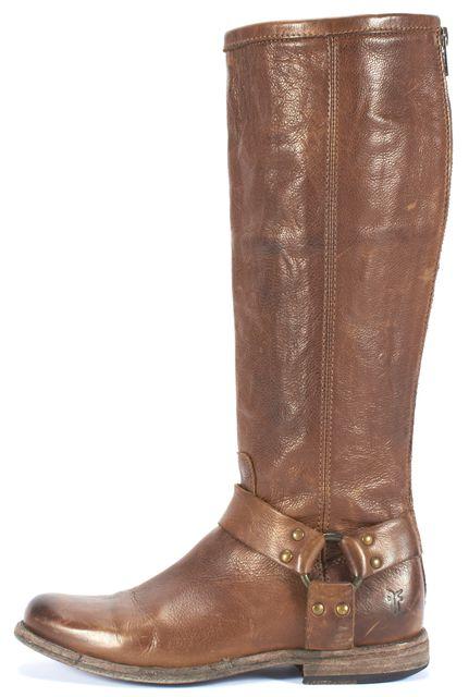 FRYE Brown Leather Mid-Calf Zip-Up Biker Boots