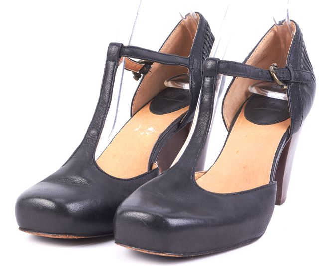 FRYE Black Leather Closed Toe T-Strap Brown Leather Heels