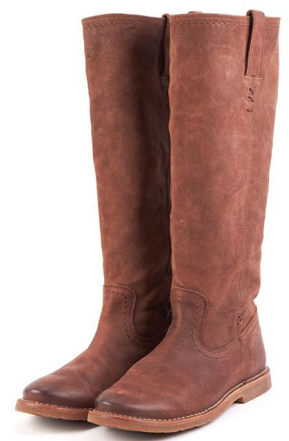 FRYE Dark Brown Leather Pull On Riding, Equestrian Boots