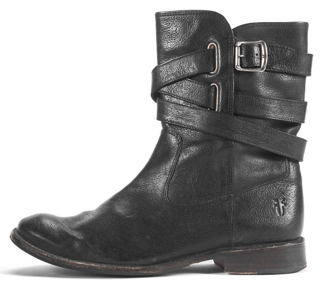 FRYE Black Buckle Leather Ankle Boots