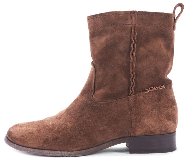 FRYE Brown Distressed Suede Leather Ankle Boots