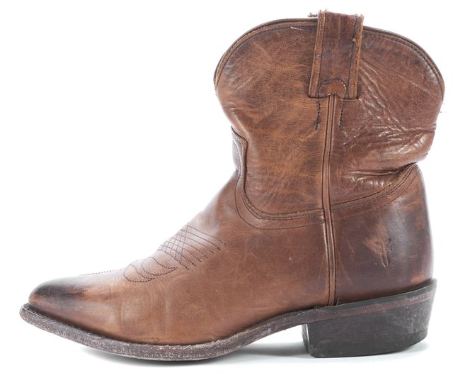 FRYE Brown Leather Distrtessed Cowboy Ankle Boots