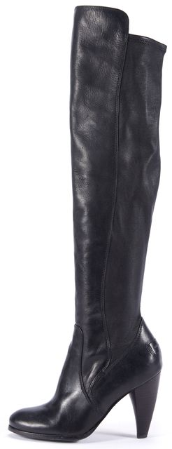 FRYE Tall Over Knee Black Leather Boots