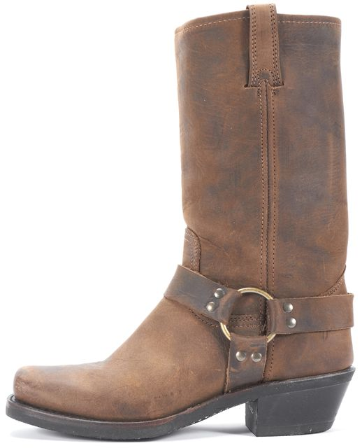 FRYE Tan Leather Harness Mid-Calf Boots