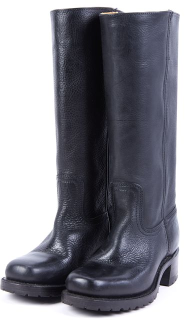 FRYE Black Leather Women's Campus Mid-Calf Boots