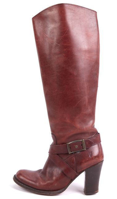 FRYE Brown Julia Inside Zip Oiled Leather Riding Boots