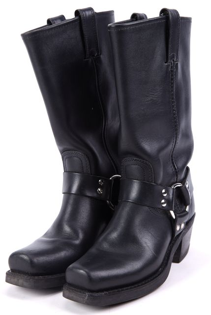 FRYE Black Harness Leather Mid-Calf Western Boots