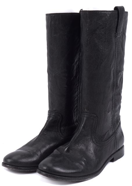 FRYE Black Mid-Calf Pull On Leather Tall Boots