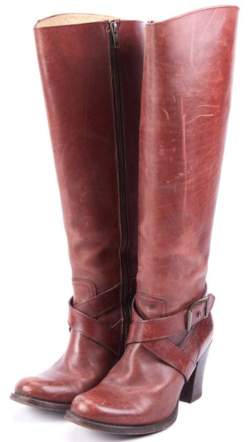 FRYE Cognac Brown Distressed Leather Buckle Trim Knee-High Tall Boots