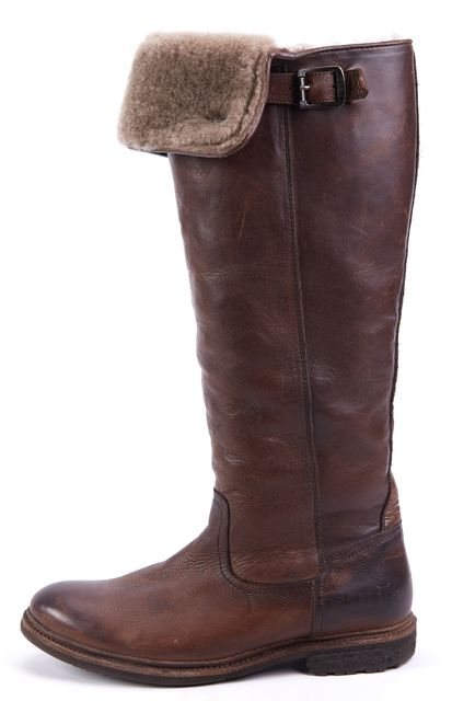 FRYE Brown Leather Mid-Calf Boots W/ Shearling Lining
