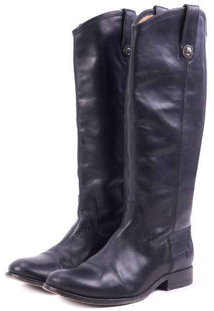 FRYE Black Leather Western-Style Mid-Calf Tall Boots