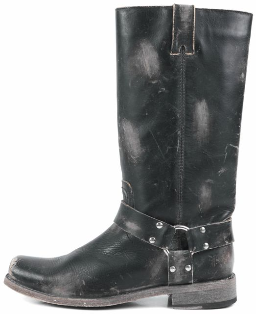 FRYE Black Distressed Leather Mid-Calf Boots