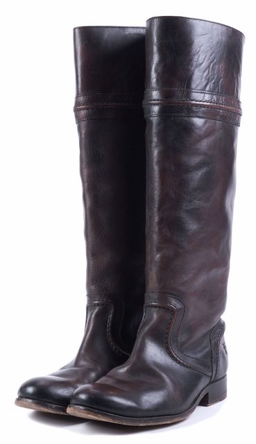 FRYE Brown Leather Logo embossed Knee-high Boot Tall Boots