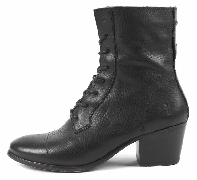 FRYE Black Leather Lace-Up Heeled Ankle Boots