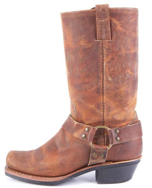 FRYE Brown Gold Leather Cowboy Mid-Calf Boots