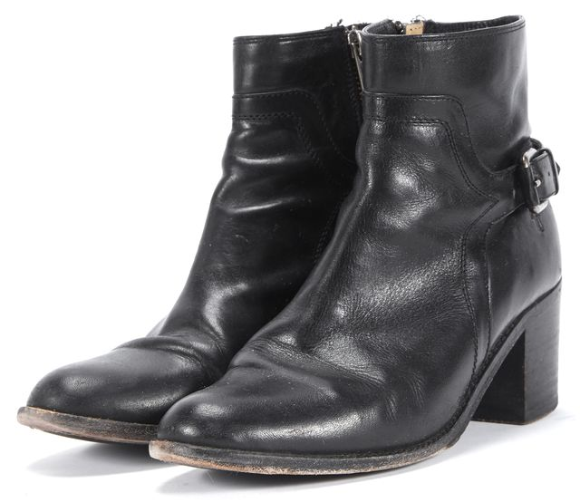 FRYE Black Leather Buckle Ankle Boots