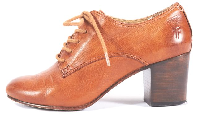FRYE Camel Brown Leather Ankle Oxford Block Heels