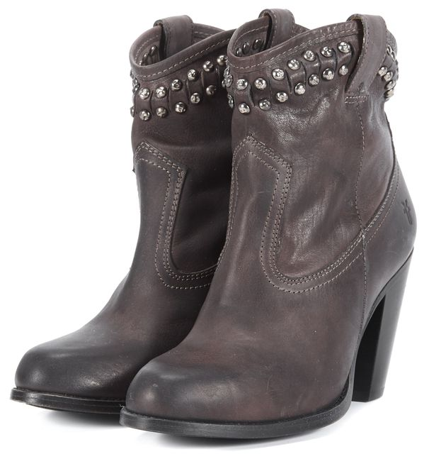 FRYE Brown Leather Jenny Cut Stud Embellished Short-WSHV Ankle Boots