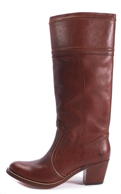 FRYE Brown-Red Leather Western-Style Heel Tall Boots