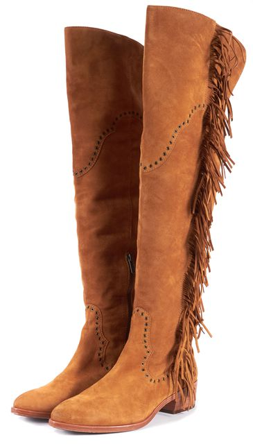 FRYE Mustard Brown Suede Fringe Over Knee Boots
