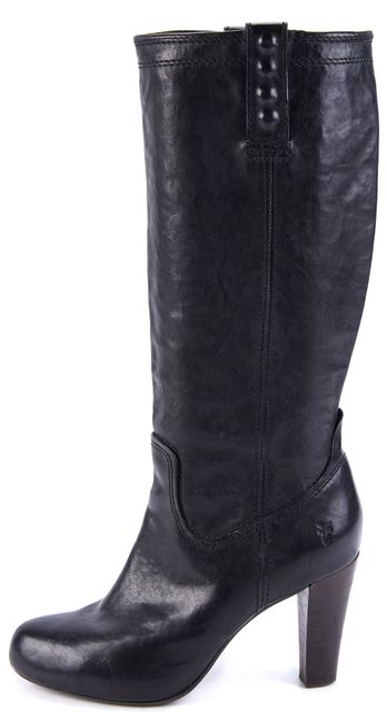 FRYE Black Leather Heels Knee-High Boots