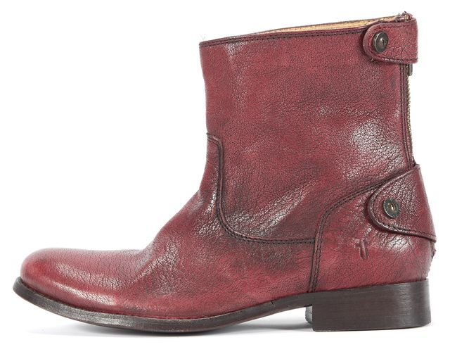FRYE Red Textured Leather Zip To CloseButton Embellished Ankle Boots