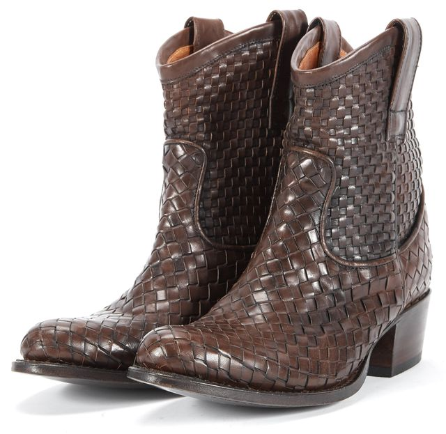 FRYE Brown Basket Weaved Leather Pull On Ankle Boots