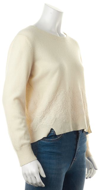 GIRL BY BAND OF OUTSIDERS Ivory Cropped Crewneck Knit Sweater
