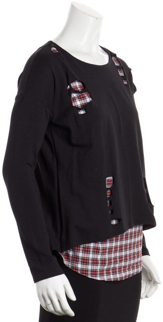 GENERATION LOVE Black Plaid Long Sleeve Knit Top