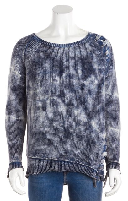 GENERATION LOVE Blue Long Sleeve Tie Dye Lace Up Boat Neck Sweater