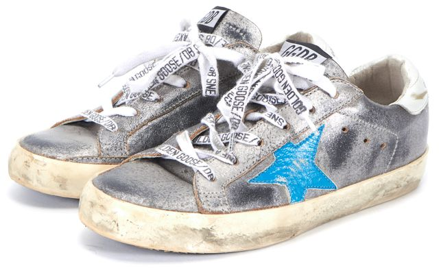 GOLDEN GOOSE Silver Blue Star Leather Lace Up Skate-Boarding Sneakers